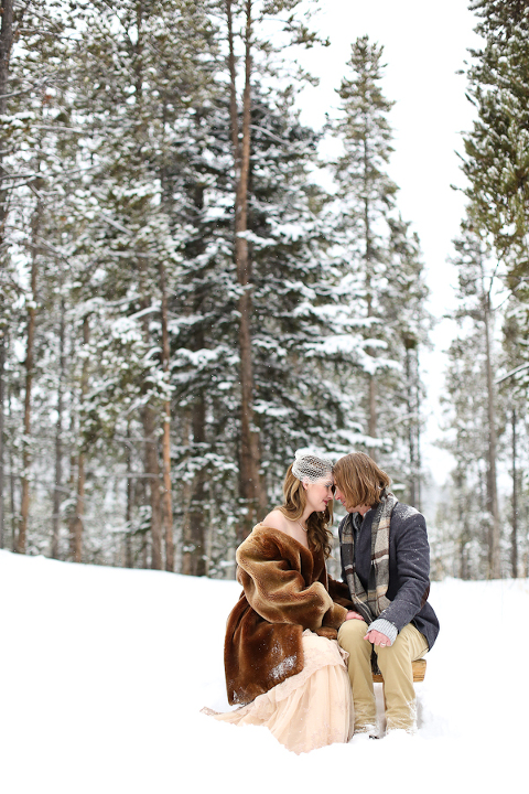 snowy colorado winter elopement photography in a forest