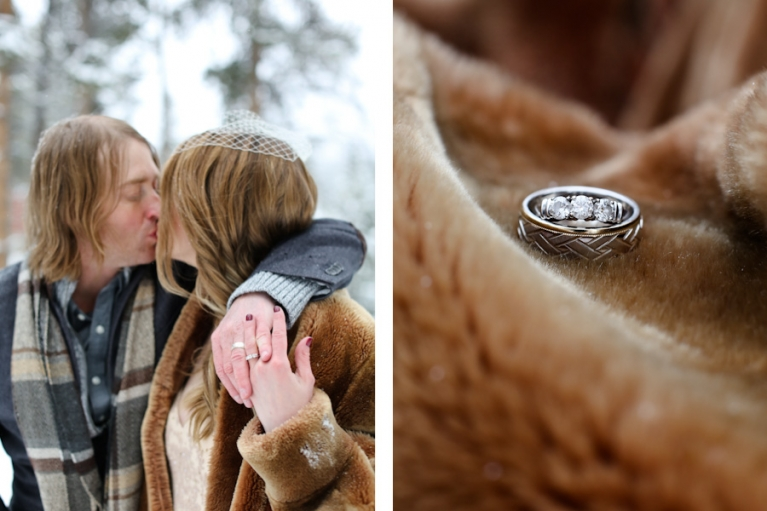 winter elopement session in the forest