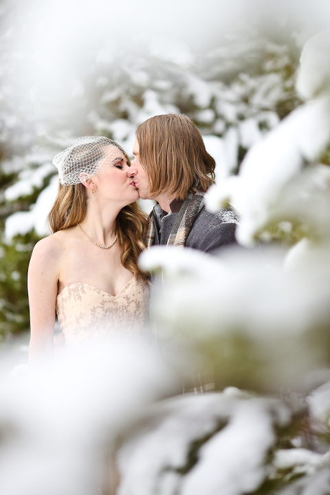 eloping in a snowy forest in colorado