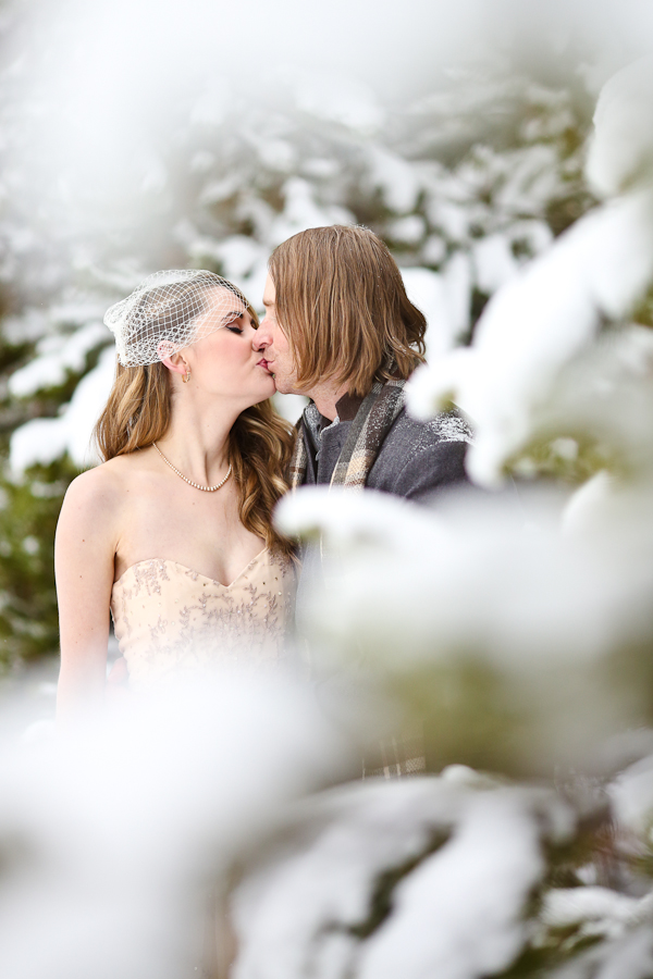 eloping in a snowy forest