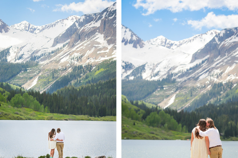 A lakeside elopement in Telluride Colorado with beautiful mountain views in the background