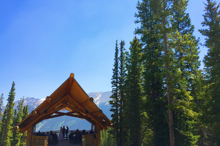 A private mountain top location for small wedding at Solitude Station at Copper Mountain Resort
