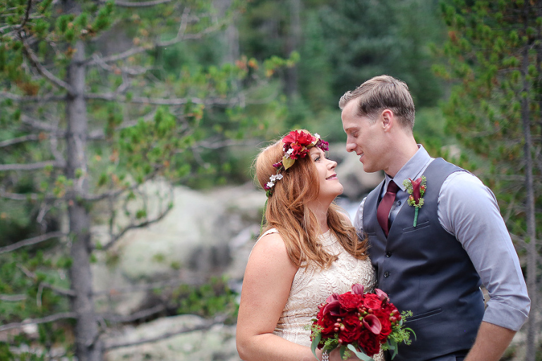rocky mountain national park elopement in the woods in the wild basin area