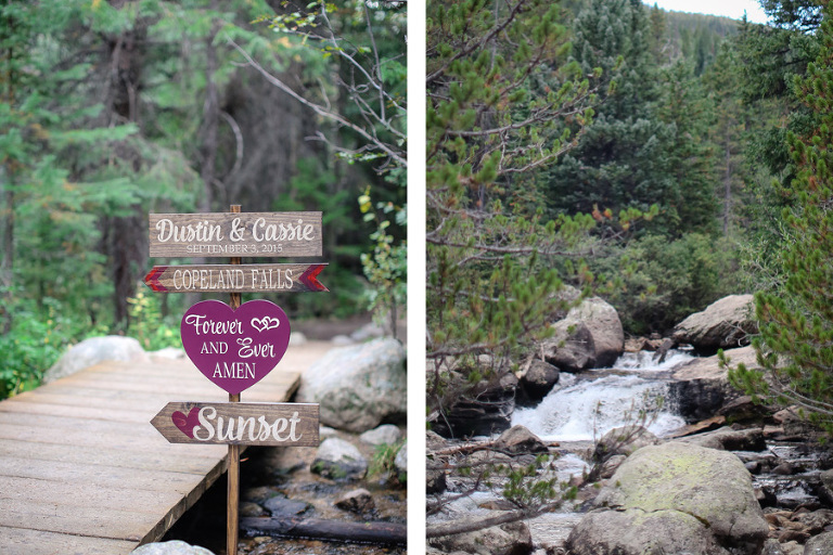 wedding sign leading the way to an elopement location at copeland falls in rocky mountain national park