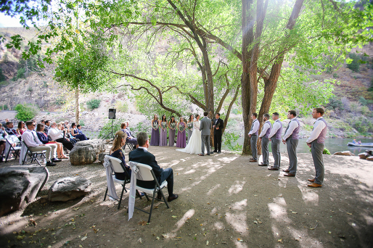 A wedding ceremony at the Glenwood Canyon Resort on the banks of the Colorado River