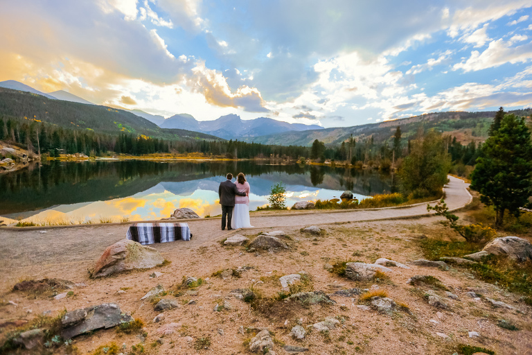 A sunset elopement at Sprague Lake inside Rocky Mountain National Park Colorado