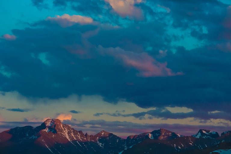 Pink sunset over Longs Peak makes a beautiful elopement backdrop