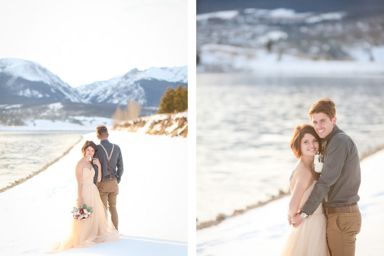 snowy elopement in colorado at lake dillon in december
