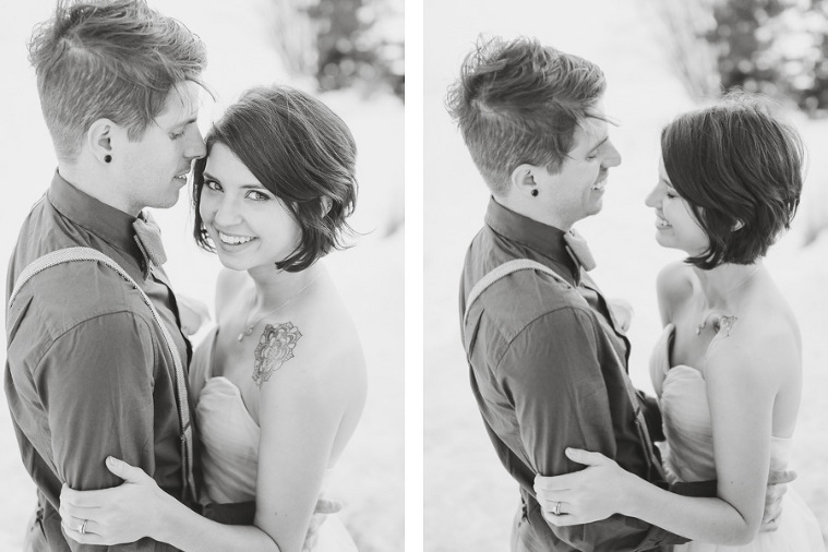 Couple eloping in the snow at lake dillon in Summit County Colorado