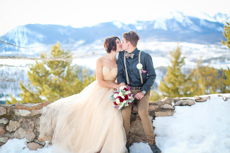 snowy elopement at sapphire point overlooking lake dillon