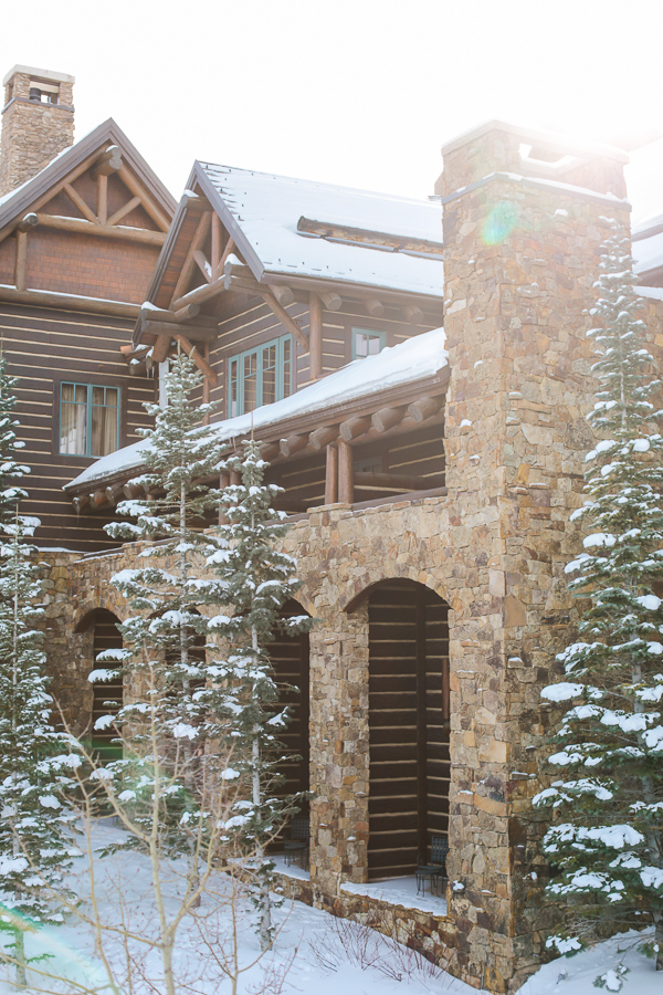 Snowy lodge at Beaver Creek makes a perfect elopement backdrop in December