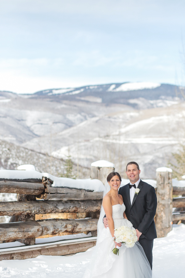 Beaver Creek winter elopement backdrop with snow
