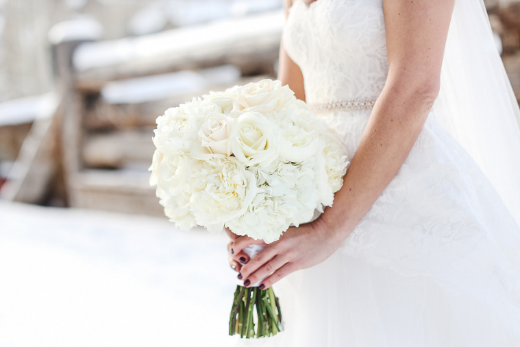 Winter white wedding bouquet by Plum Sage Flowers in Colorado