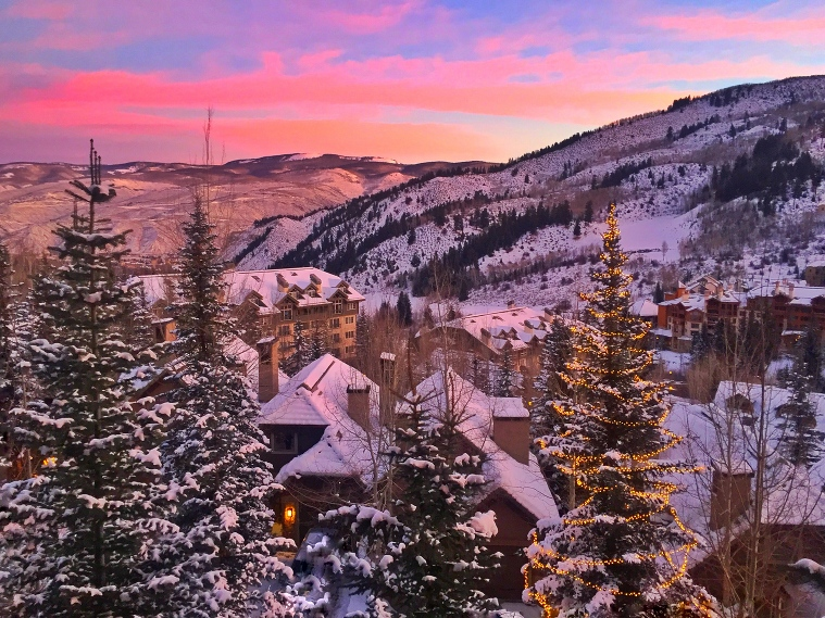 pink sunrise over Beaver Creek Colorado is the perfect snowy backdrop for an elopement