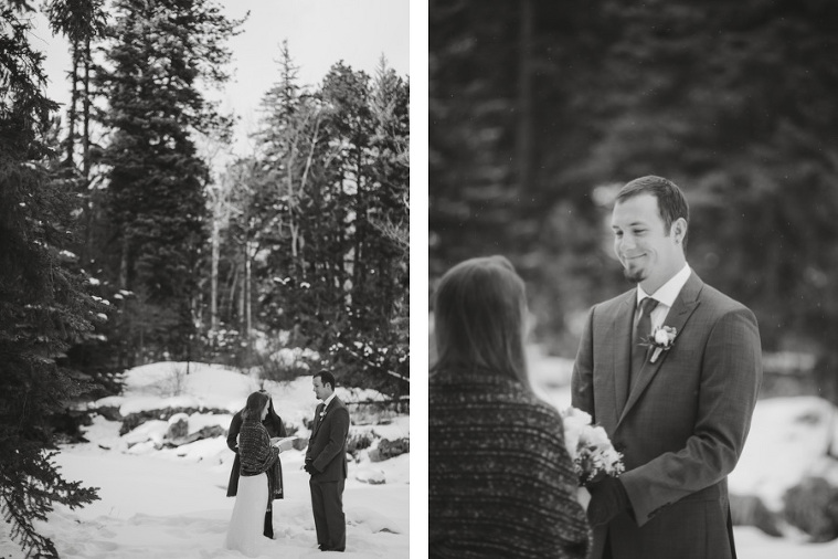 Winter elopement in Estes Park on Fall River