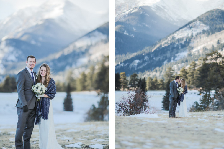 Rocky Mountain National Park elopement in Estes Park with a majestic mountain backdrop