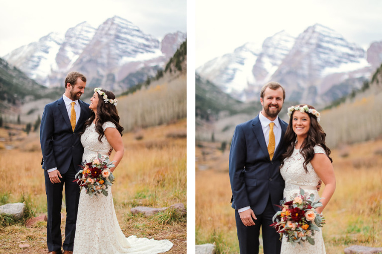 bride and groom eloping at the maroon bells