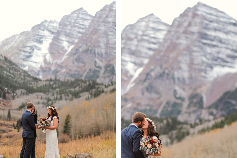 intimate elopement in the fall at the gorgeous maroon bells in aspen colorado