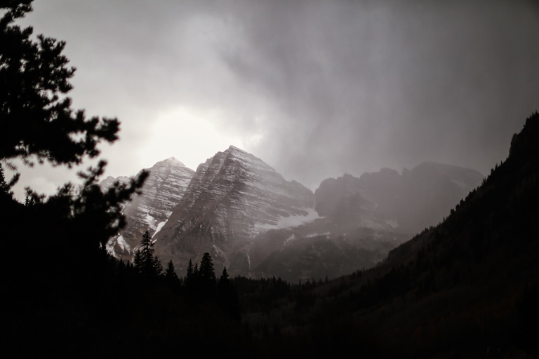 a fall storm comes upon the maroon bells