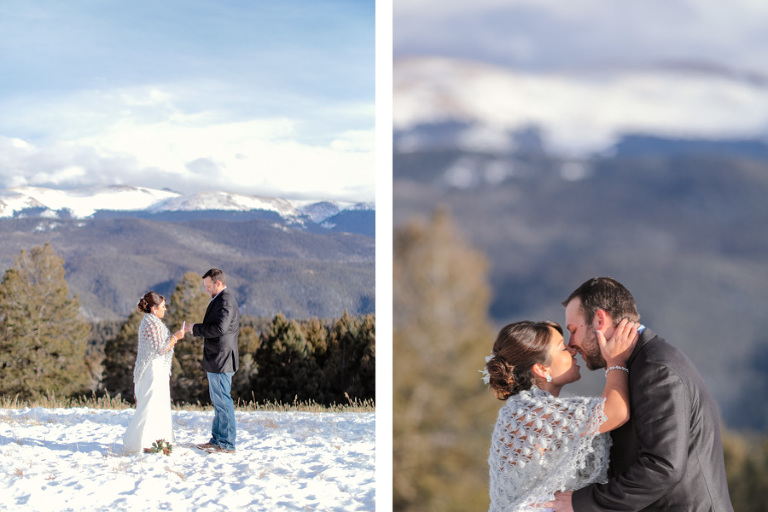 winter elopement in Colorado with snowy peaks in the background of the ceremony site