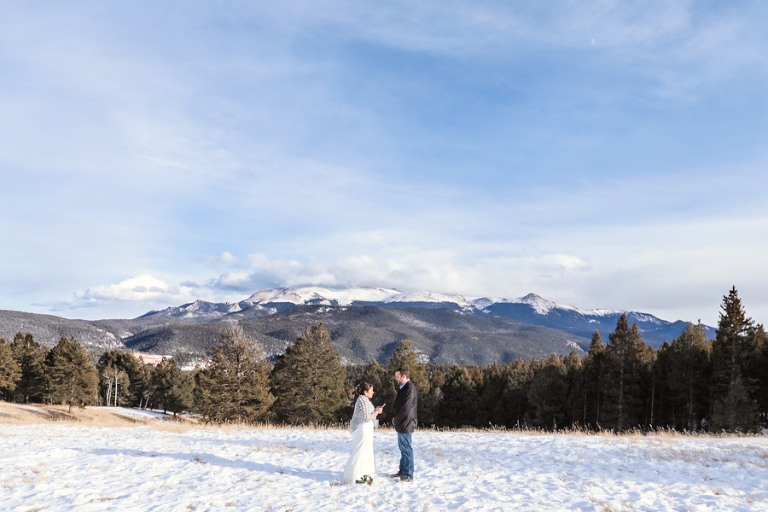 bride and groom eloping in the snow near mueller state park in colorado