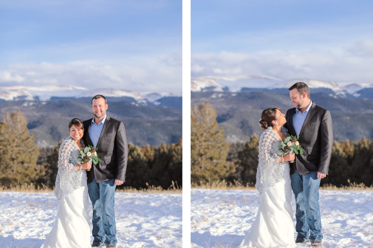 winter elopement in the forest of colorado with snowy mountain views on a cold day