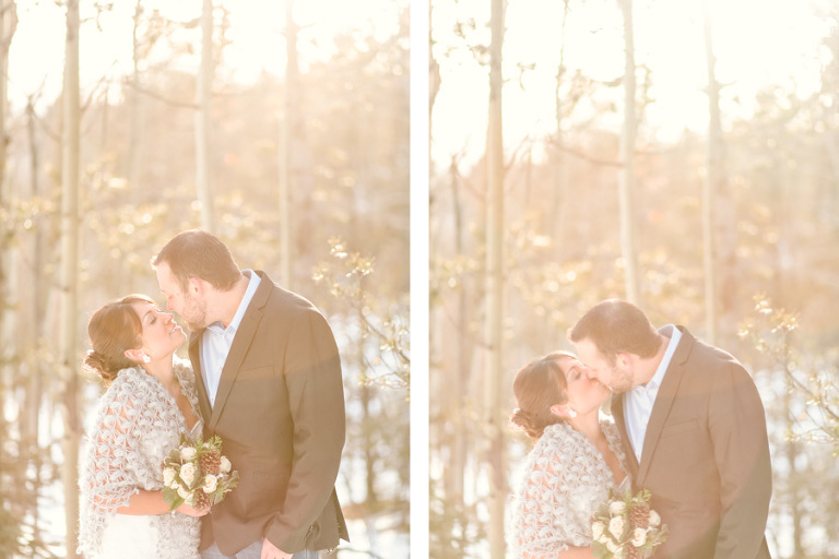low winter sun provides beautiful backlighting for a bride and groom who eloped in colorado