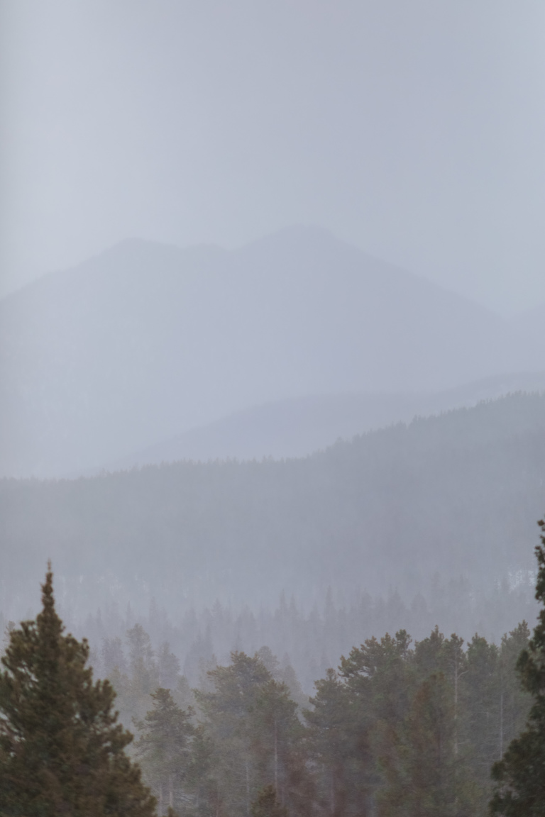 rocky mountain national park during a whiteout snow storm in december 2016