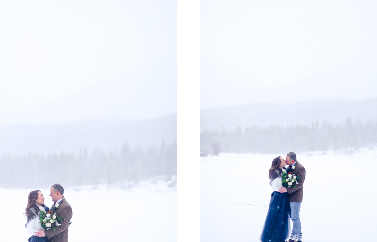 Eloping on a frozen lake in the winter of Colorado