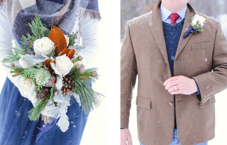 Winter elopement wedding attire for the snow and cold in Colorado