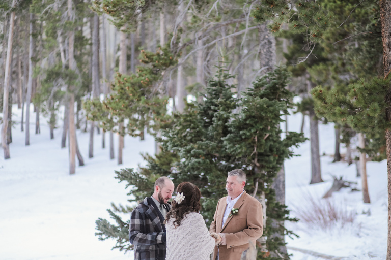 snowy forest elopement location in the colorado mountains