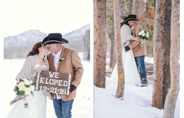 a wooden we eloped held by a bride and groom during their elopement ceremony in the winter