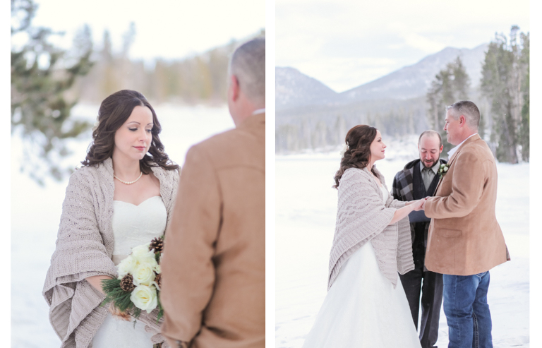 eloping in the snowy forests of colorado the bride and groom stand on a frozen sprague lake