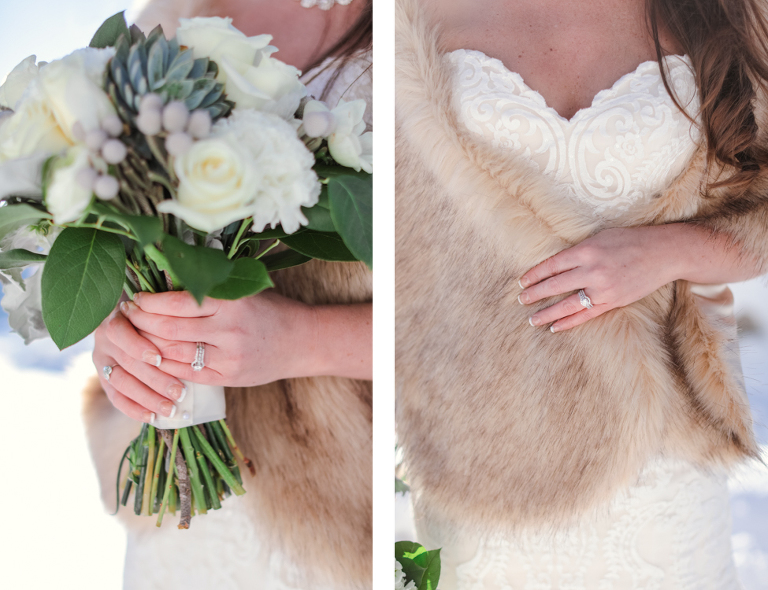 fur wrap for a winter elopement