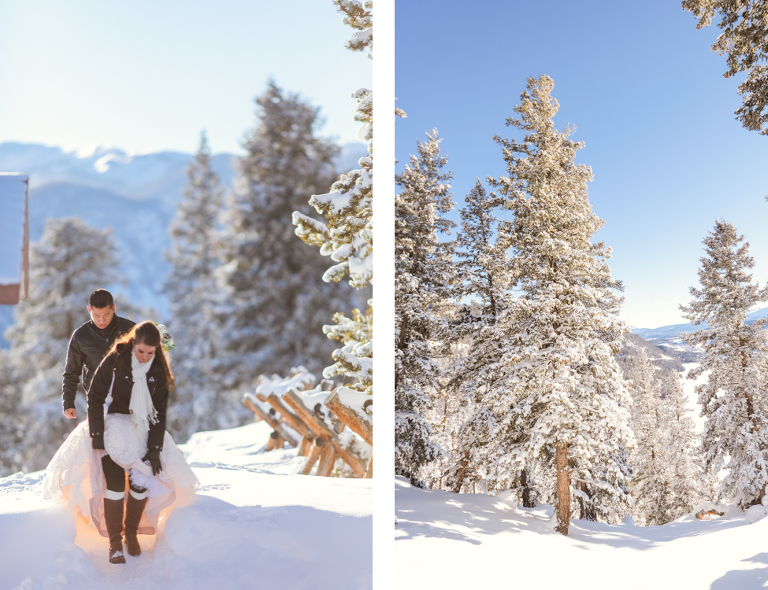 bride and groom walk in the snow to their winter elopement location in Colorado