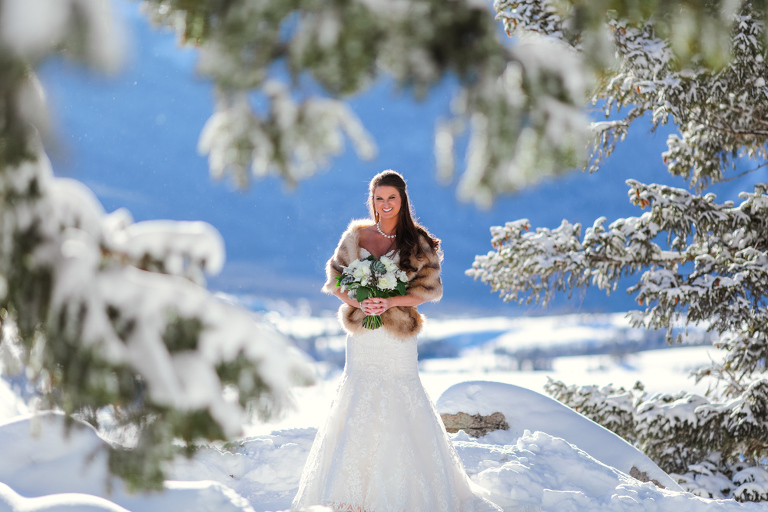 A bride in a fur wrap elopes in the snowy mountains of Colorado