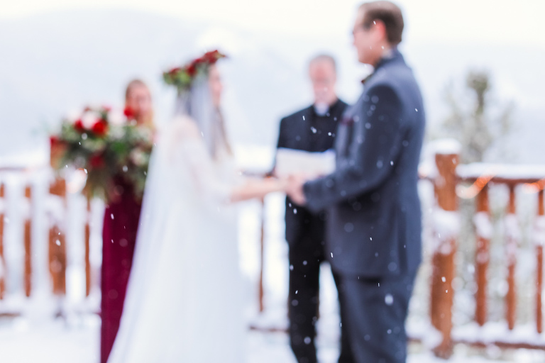 Snowy winter wedding in Breckenridge that is out of focus