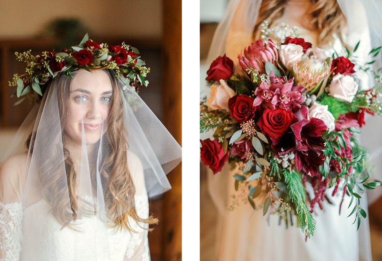 maroon bridal flower crown idea