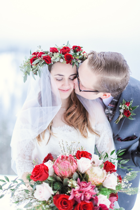Winter elopement in Breckenridge with amazing flower crown
