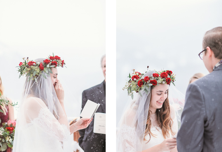 Bride and groom share vows during their intimate wedding in Breckenridge in January