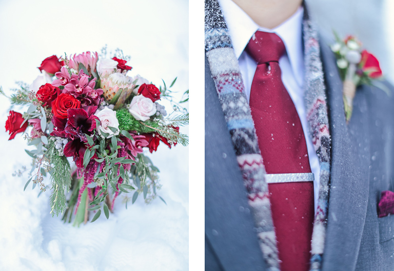 groom winter wedding attire for a cold wedding