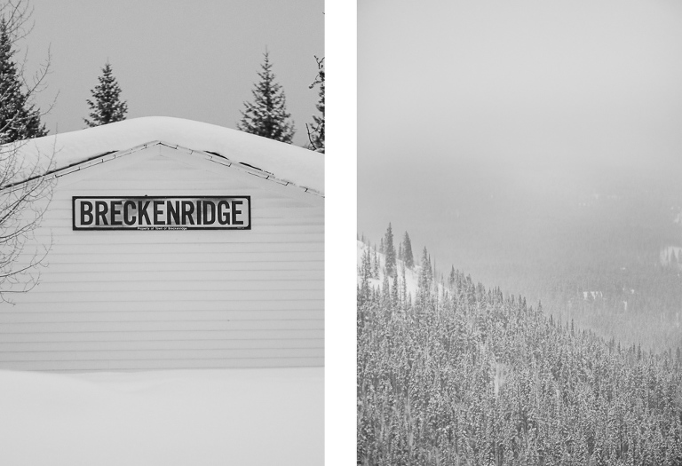 Breckenridge sign in the wintertime