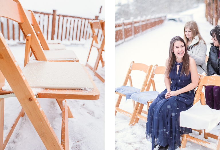 guests get ready for a snowy winter wedding in Breckenridge