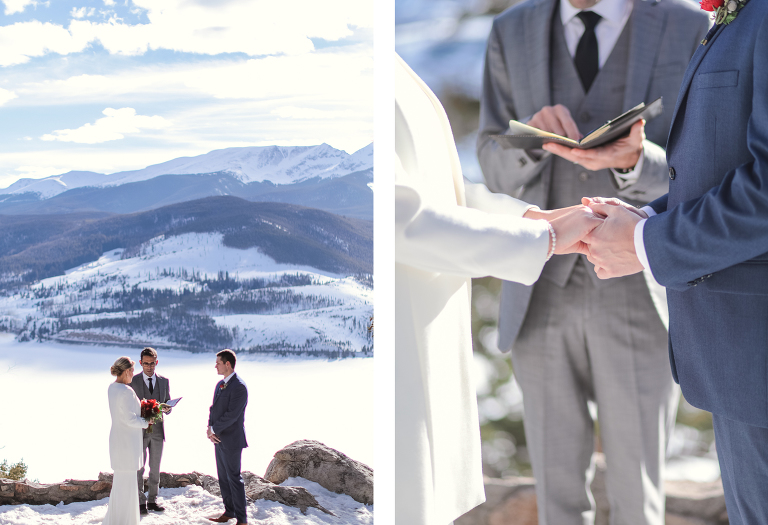 Winter elopement ceremony at Sapphire Point in February