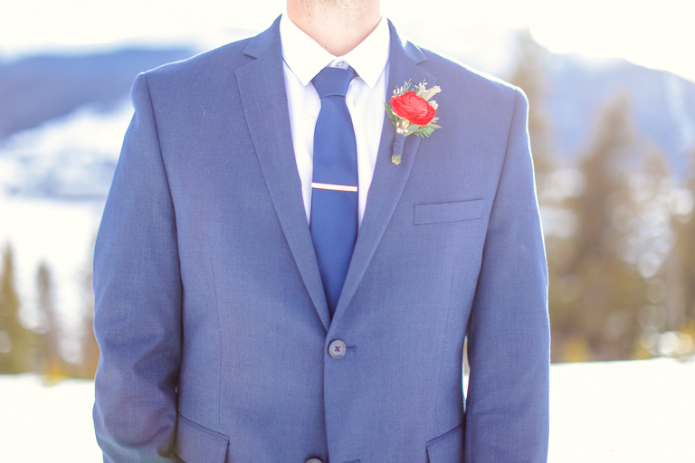 blue groom's jacket for an elopement