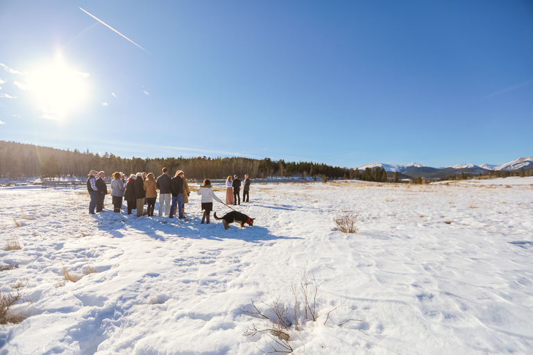 A family-only intimate wedding in March at Kenosha Pass, Colorado