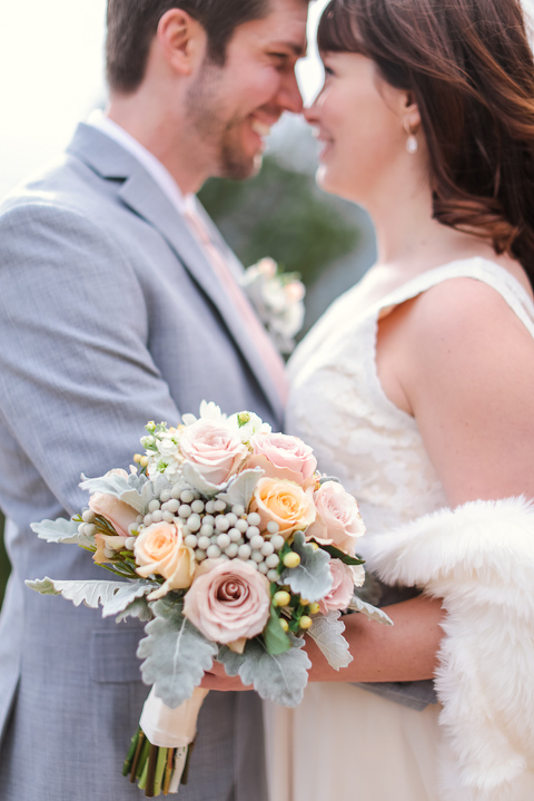 A beautiful pastel elopement bouquet that is perfect for a mountain wedding