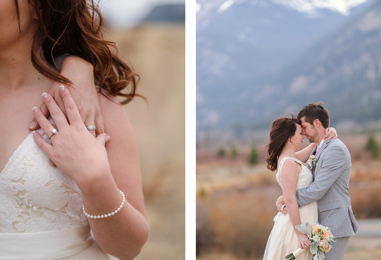 A bride and groom elope near Horseshoe Park in RMNP
