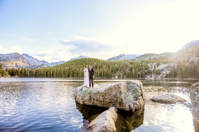 A bride and groom elope in Rocky Mountain National Park at Bear Lake in October