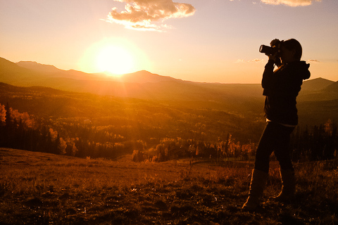 photographer, Becky Young is taking photos in Telluride during the fall color of late September